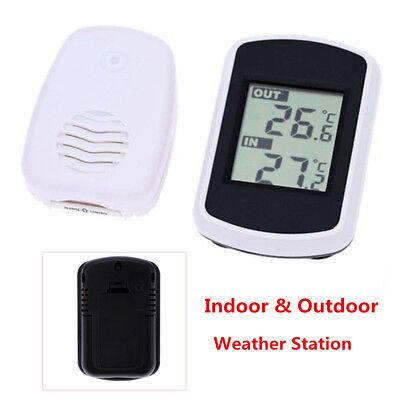 Digital LCD Indoor/ Outdoor Wireless Weather Station w/ Sensor Thermometer -