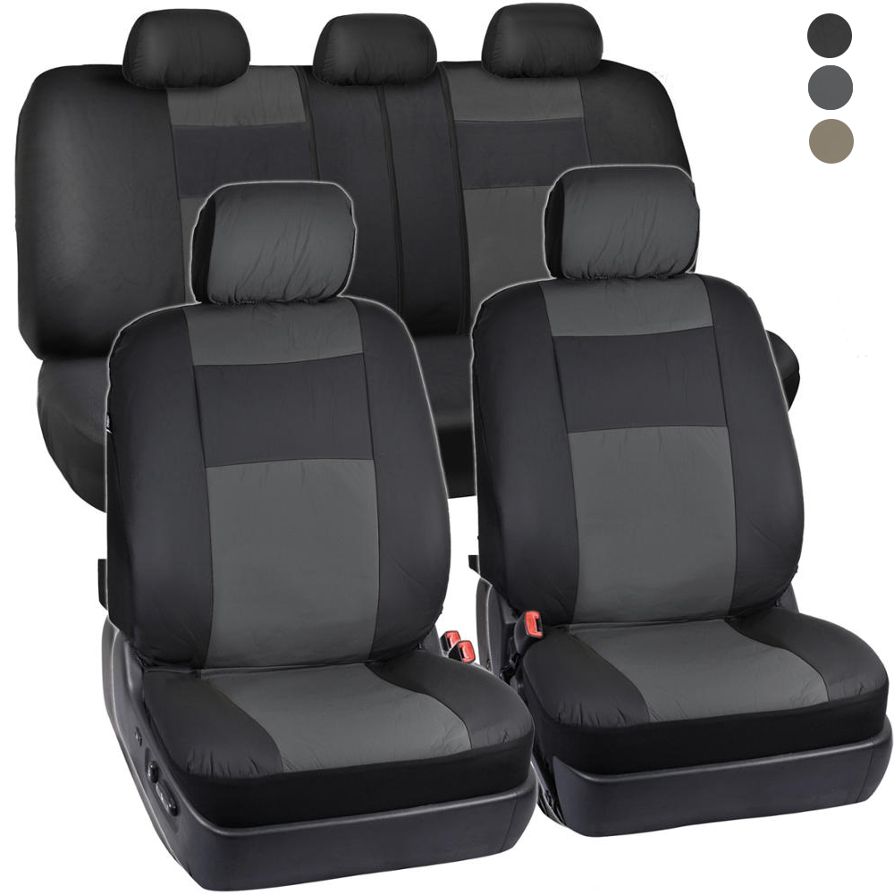 Car Parts - PU Vinyl Leather Car Seat Covers - 9 Pieces Front & Rear Full Interior Set