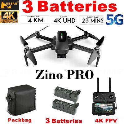 Hubsan Zino PRO RC APP Drone 5G WiFi 3Gimble 4K Camera Quadcopter+3 Battery+Bag