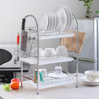 NEX Dish Rack 3-Tier Stainless Steel Bowl Shelf Organizer Nonslip Cutlery Holder