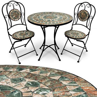 Mosaik Gartengarnitur Sitzgarnitur Gartenmöbel Sitzgruppe Tisch Bistrotisch Set