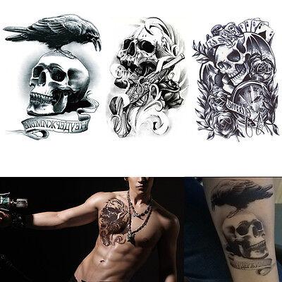 3pcs Waterproof Temporary Tattoos Skull Large Arm Fake Transfer Tattoo Stickers  on Rummage