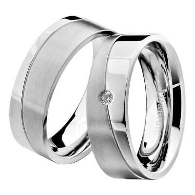 Titanium Two-Tone Round Cubic Zirconia His & Hers Wedding Ring Sets na Comfort Fit Solitaire Setting