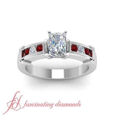 1.25 Ct Radiant Cut SI1 Diamond & Ruby Engagement Ring Channel Set 14K Gold GIA 1