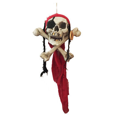 Hanging Pirate Skull Plastic Life Size Hanging Head for Halloween Decorations