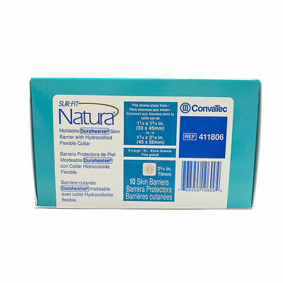 ConvaTec #411806 Sur-Fit Natura Box of 10 Mold-to-Fit Skin Barrier Free Shipping