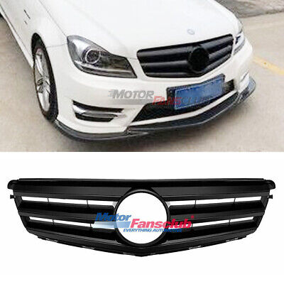 For Mercedes-Benz C Class W204 3 Fin Black Front Bumper Upper Grill C300 08-14