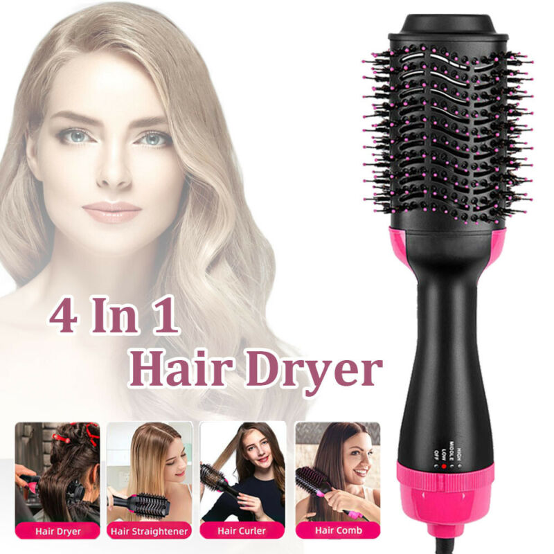 4-in-1 Hot Hair Brush Comb Air Style Curler Hair Dryer Styling Roll Hairdryer