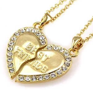 HEART BFF Best Friends Forever Clear Crystal Necklace Chain Pendant Gold Tone