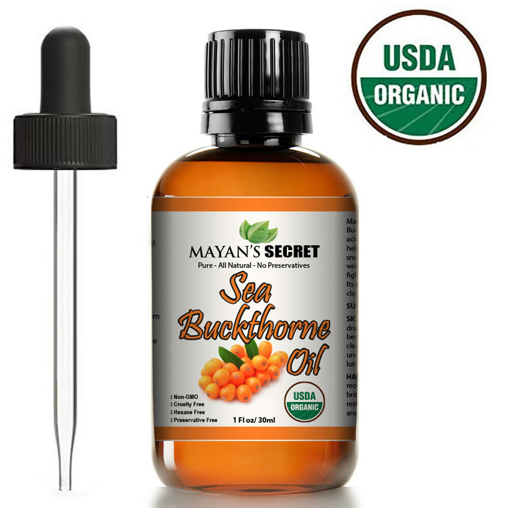 Sea Buckthorn Seed Oil USDA CERTIFIED ORGANIC All Natural – Skin and Hair -1oz Health & Beauty
