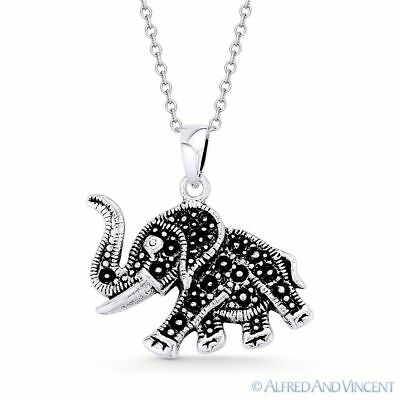 Elephant Animal Charm Pendant & Cable Link Chain Necklace in 925 Sterling Silver Elephant Animal Charm Pendant