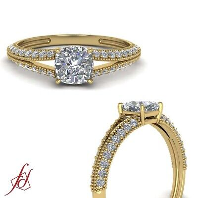 Cushion Cut Diamond Milgrain Split Shank Wedding Ring In 18K Yellow Gold 0.85 Ct