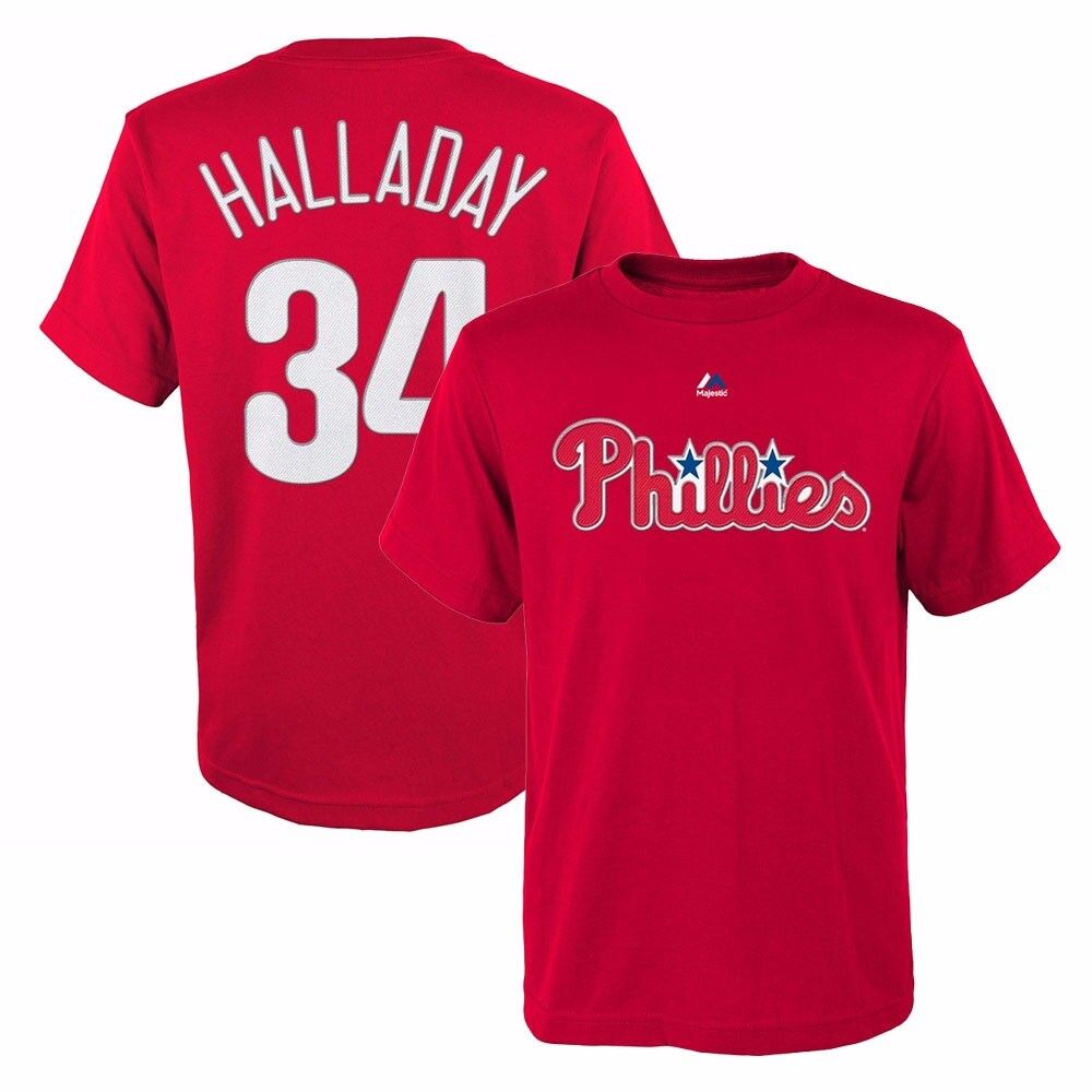 Roy Halladay Philadelphia Phillies MLB Majestic Player Red J
