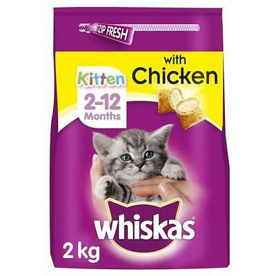 Whiskas 2-12 Months Kitten Complete Dry Cat Food Biscuits with Chicken 2kg