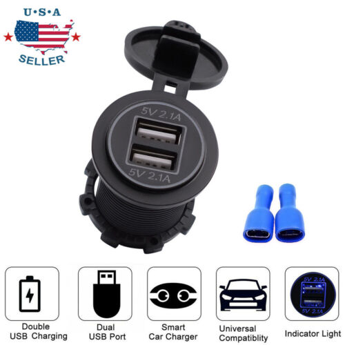 1PC DC 12V//24V Dual Port Car USB Charger Led Light 4.2A Power Outlet For Car For Car Motorcycle USB Quick Charger Socket Adapter