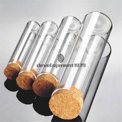 5x Multiple Lab Glass Test Tube Flat Bottom W Wood Stopper Thermostability New