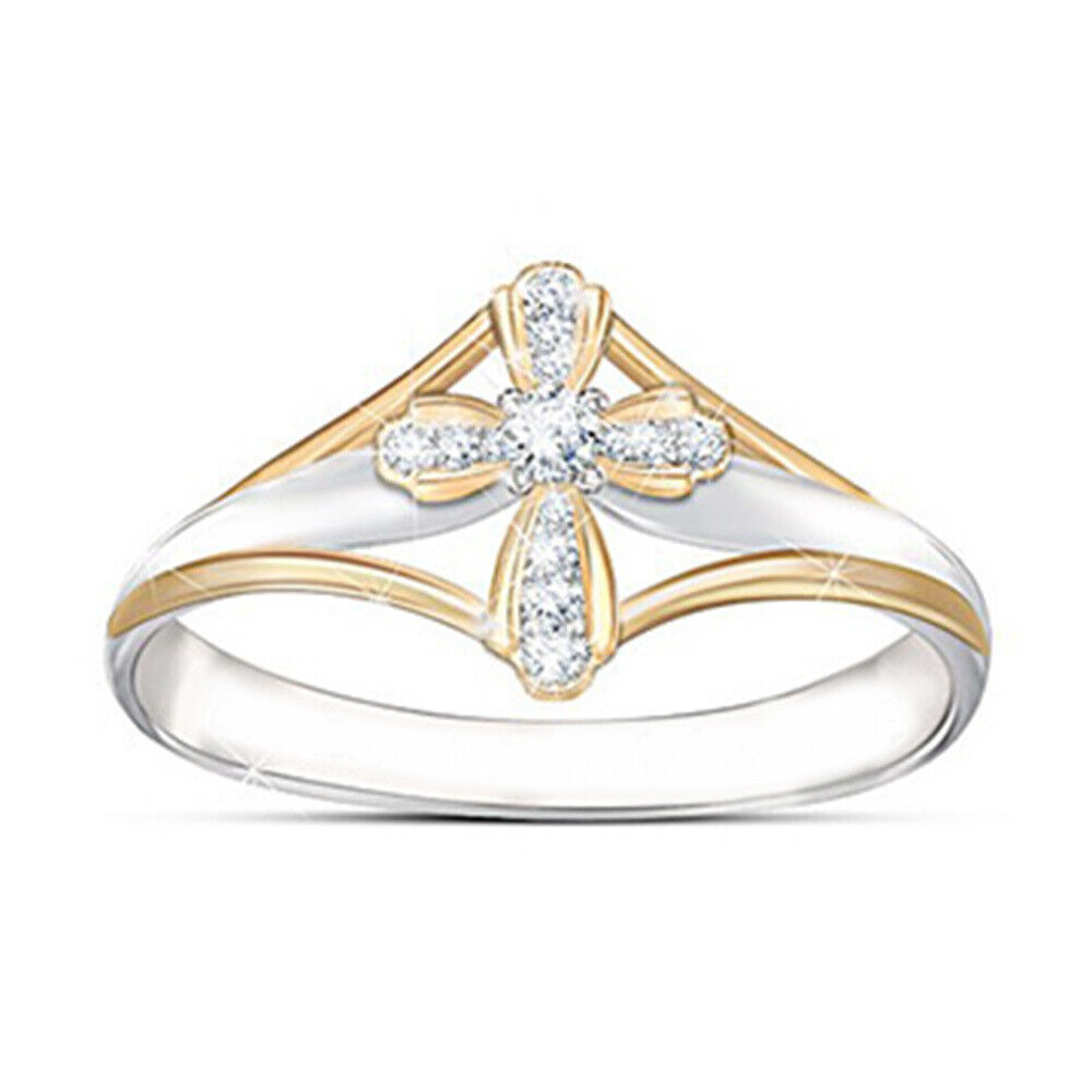 Cross Shaped Two Tone 925 Silver Party Rings For Women White