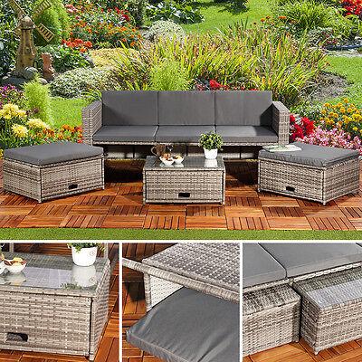 Sitzmöbel Polyrattan Set Sofa Tisch 2 Hocker Lounge Gartenset Rattanmöbel grau