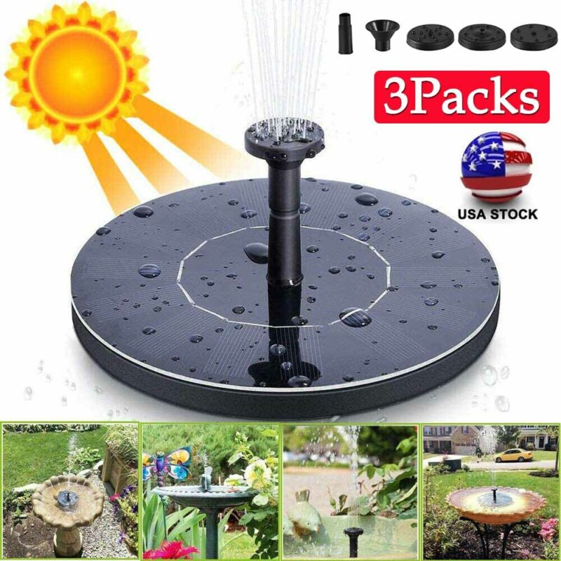 Outdoor Solar Powered Floating Water Fountain Pump Bird Bath