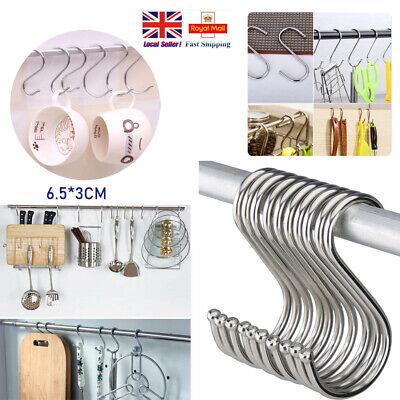 Stainless Steel S Shape Hooks Storage Hanger Kitchen Bathroom Door Hook 6.5*3CM