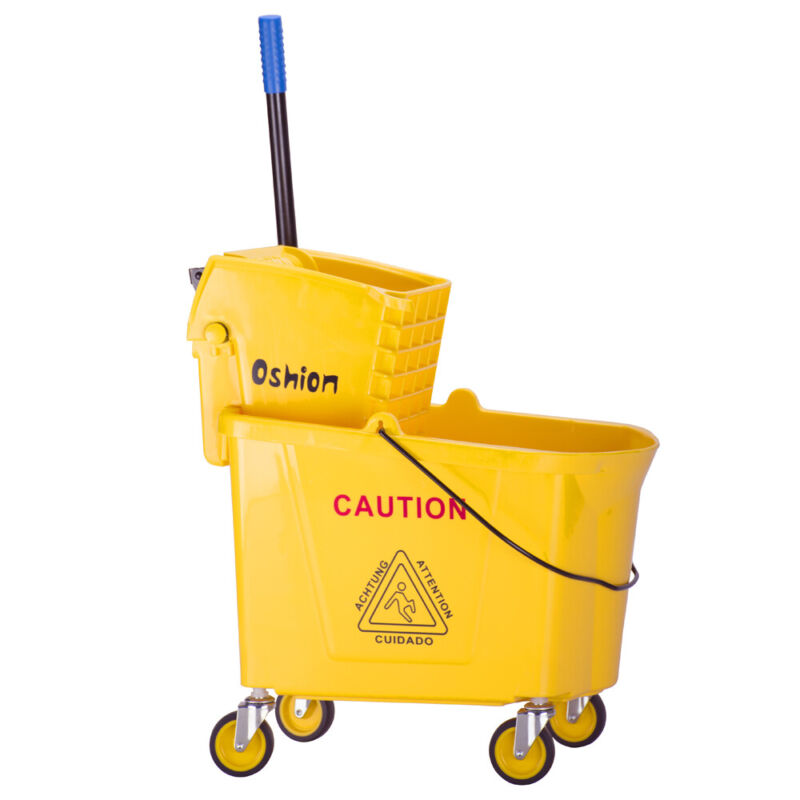 9.5Gallon Commercial Mop Bucket Side Press Wringer on Wheels Cleaning 36L Yellow