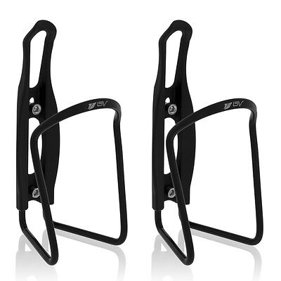 BV 2x Bike Bottle Cage Cycling Aluminum Lightweight Holder NEW BV-BC91-BK-Pair