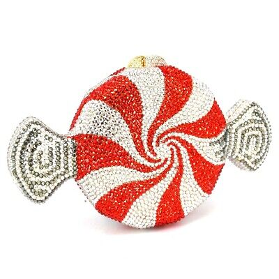 Darling Red & White Candy Swirl Crystal Encrusted Purse/Bag