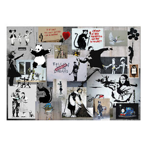X-Large-Banksy-Montage-Collage-Graffiti-Canvas-Modern-Urban-Wall-Art-Print-A1