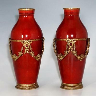 Antique Pair French Paul Milet Sevres Vases Ox Blood Sang De Boeuf Red Flambe