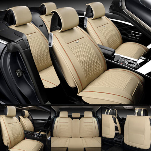 5-Seats 3D Car Seat Cover PU Leather Front /& Rear Cushion Full Set Pad Mat Auto