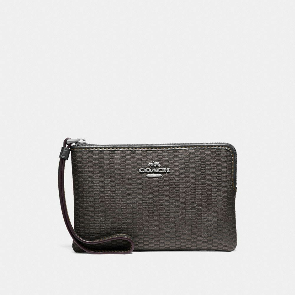 New Coach F58032 F58035 Corner Zip Wristlet With Gift Box New With Tags Legacy Jacquard Black Grey