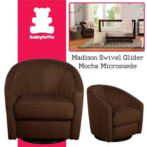 NEW Babyletto Madison Swivel Glider, Mocha Microsuede Condition: New