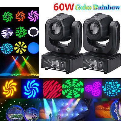 2PCS 60W RGBW SPOT Gobo LED Stage Lights Moving Head DMX Disco DJ Party (2 Moving Head)