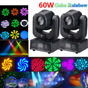 2PCS 60W RGBW SPOT Gobo LED Stage Lights Moving Head DMX Disco DJ Party Lighting