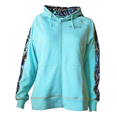 Muddy Girl Serenity Camo Fleece Lined Hoodie | Teal Zip Up Sweatshirt  Gift Idea ()