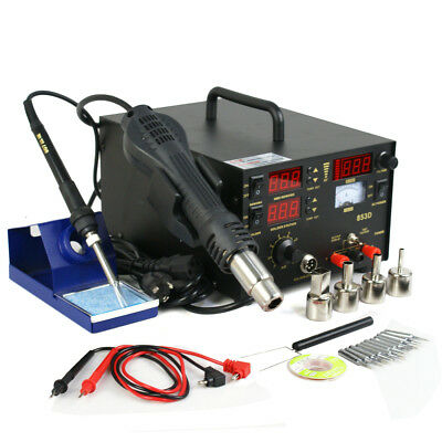 3in1 853d Smd Dc Power Supply Hot Air Iron Gun Rework Soldering Station Welder