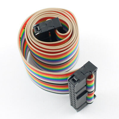 2.54mm Pitch Idc 20 Pin 20 Way Ff Connector Flat Rainbow Ribbon Cable L 50cm