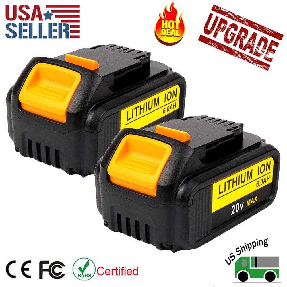 2 Pack Hot! 20V 6.0Ah Lithium-ion Battery for Dewalt DCB200