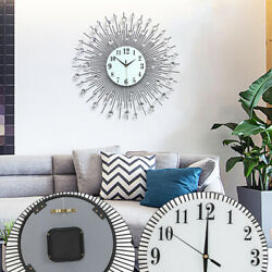 Vintage Metal Art Wall Clock Luxury Diamond Large Wall Watch Iron Art Metal