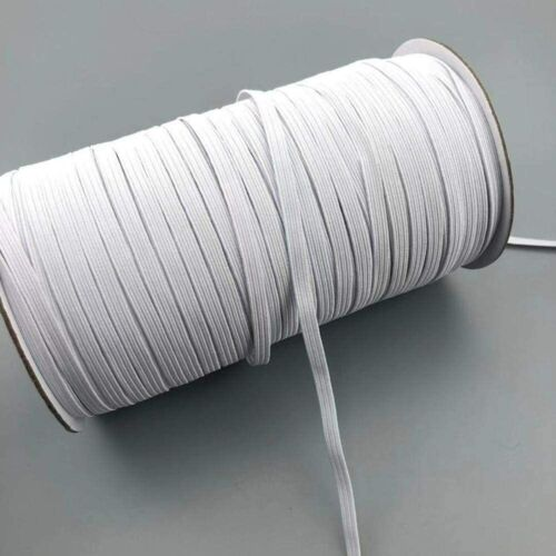 1/4 Inch KNITTED White ELASTIC Band for Face Mask 9 Yards Sewing Cord String 6mm
