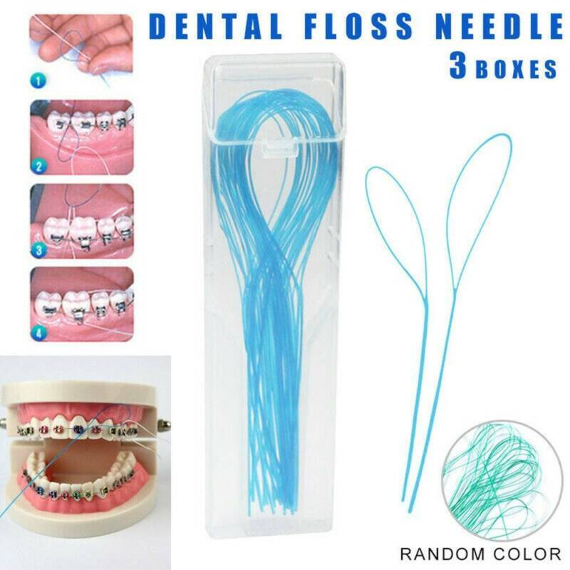 105 Pcs Dental Floss Threaders Simple Loop + Case For Braces