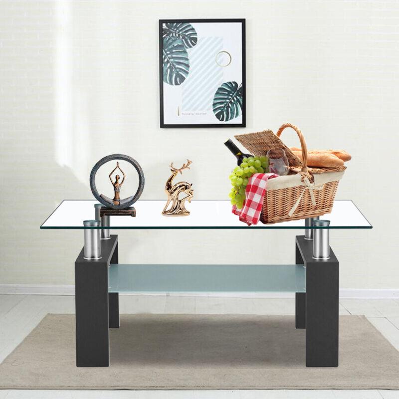 Rectangular Coffee Tee Table Glass Modern Shelf Wood Living Room Furniture Black