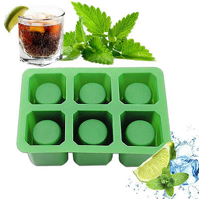 6 Cup Square Ice Cube Shot Glass Silicone Freeze Mold Maker Tray Mug Mould Party