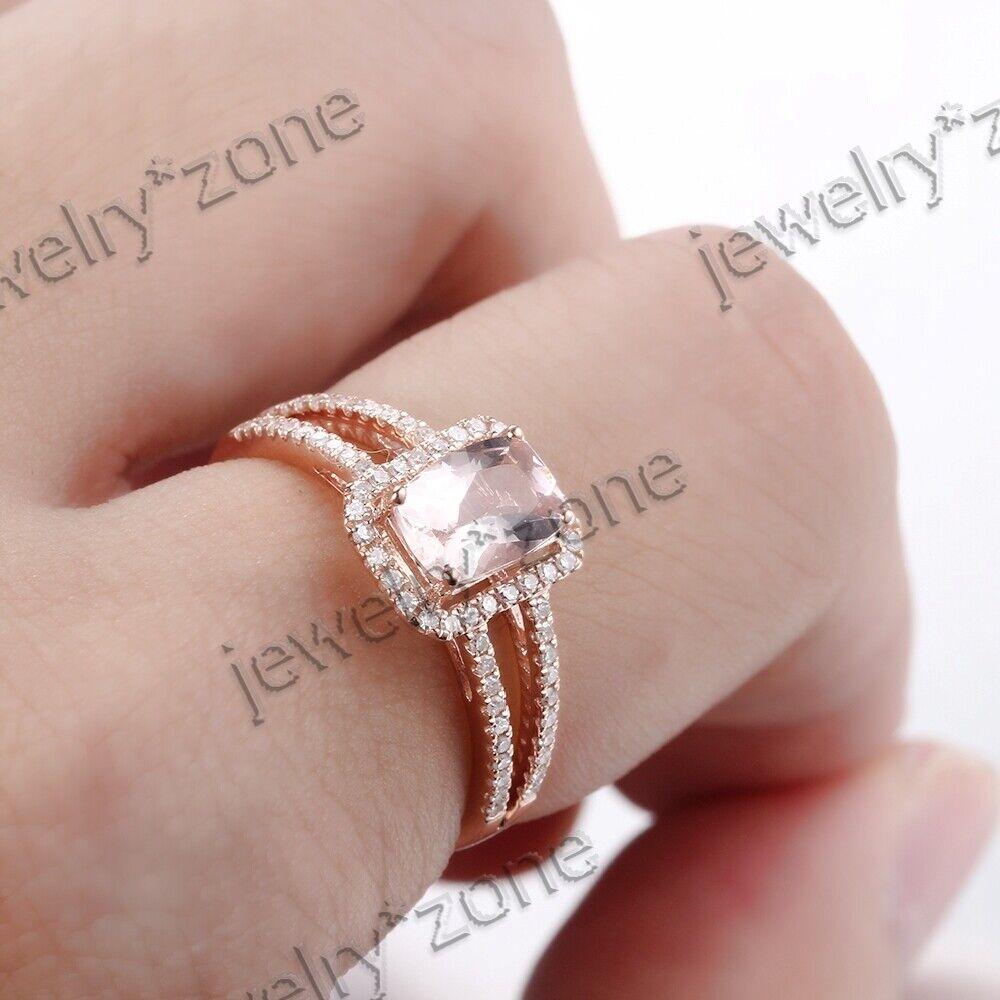 18K Rose Gold Cushion Cut Morganite Gemstone Diamond Engagement ...
