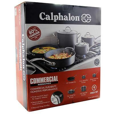 Calphalon 9 Piece Cookware Set Commercial Nonstick Black 1947200 - NEW!