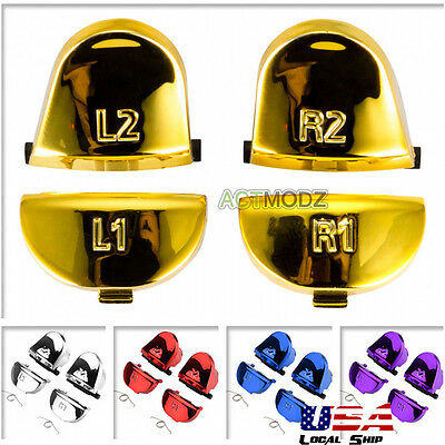 - R1L1R2L2 Triggers Springs Buttons Replacement for PS4 Controller Chrome Color