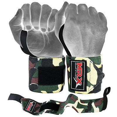 MRX Weight Lifting Training Wraps Wrist Support Gym Fitness Bandage Camo Green