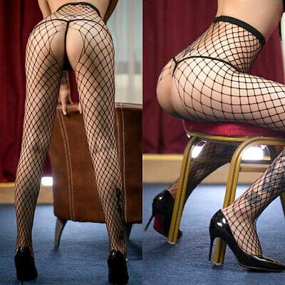 Collant calze intimo da donna sexy lingerie con cavallo aperto a rete reggicalze