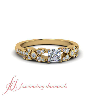 1 Carat Princess Cut Diamond Crusted X Pave Set Engagement Ring GIA Certified