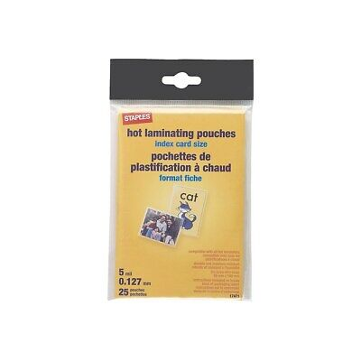 Staples 5 Mil Index Card Size Thermal Laminating Pouches 25 Pack 17471